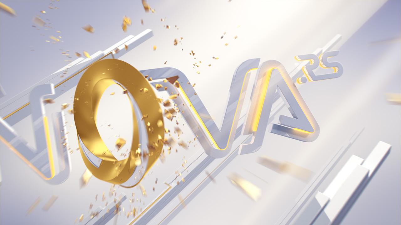 Nova.rs on-air design, white logo animation, close up 2