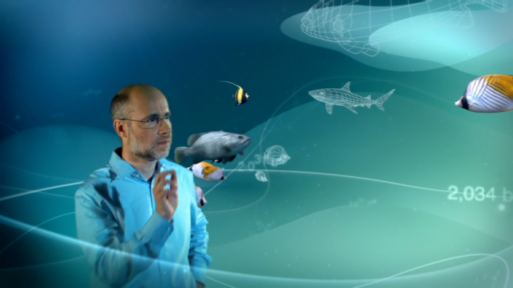 ZDF opener for Abenteuer Forschung, anchorman Harald Lesch interacting with 3D fishes in a motion graphics environment