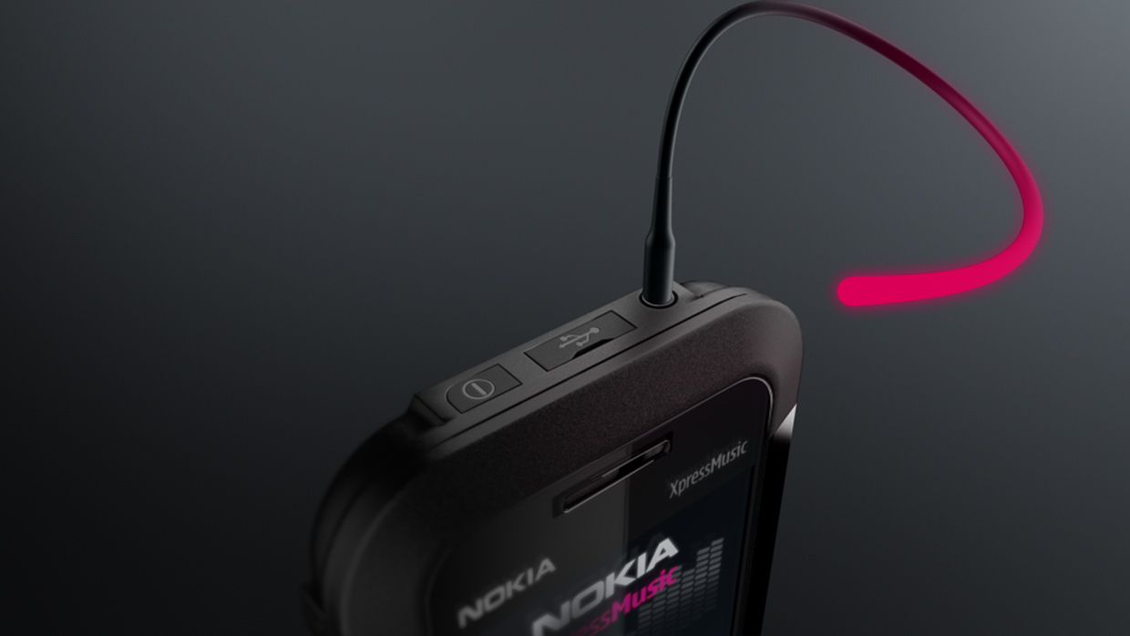 Nokia Xpress Music 3D animation, headphone cable growing out of a Nokia mobile