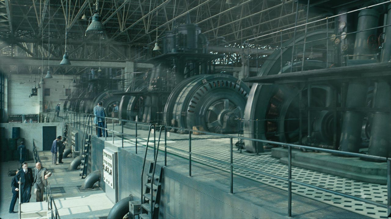 3D extended scene from the movie John Rabe. Workers in the generator hall