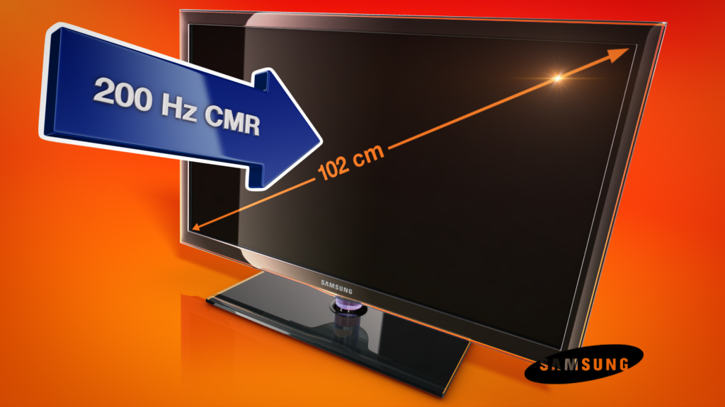 melectronics 3D product animation –Samsung TV with feature arrow