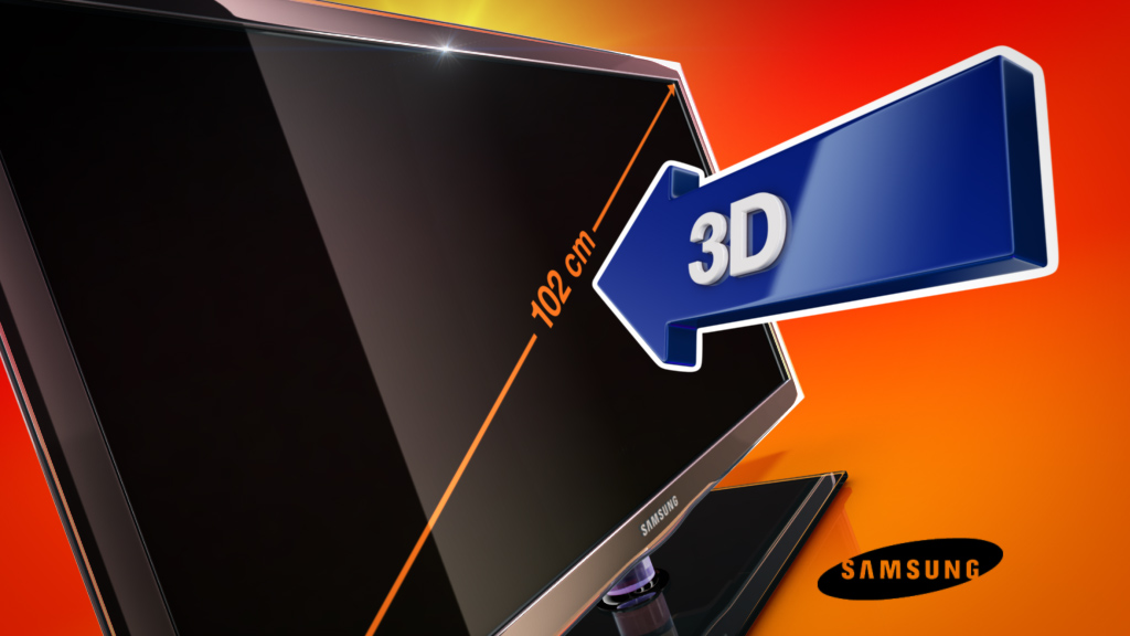 melectronics 3D product animation –Samsung TV with 3D feature arrow