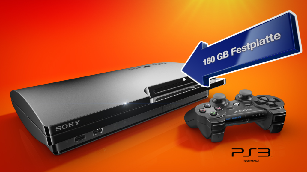melectronics 3D product animation – Playstation 3 with feature arrow