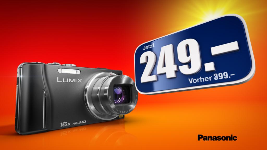 melectronics 3D product animation – Panasonic Lumix price offer