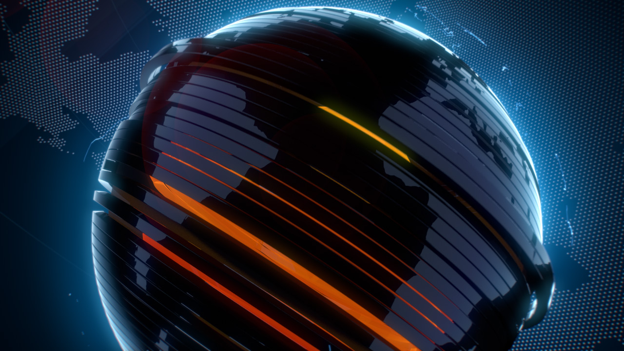 Nova.rs news opener, 3D animation, transformation of an abstract globe