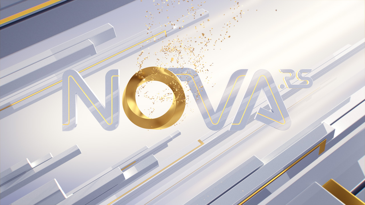 Nova.rs on-air design, white logo animation
