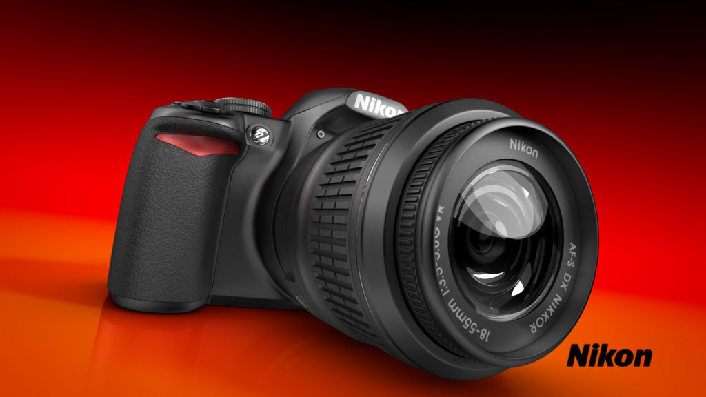melectronics 3D product animation – Nikon reflex camera close up 2