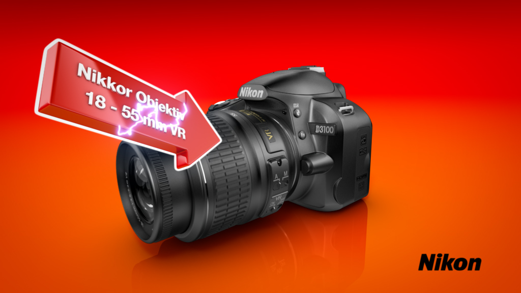 melectronics 3D product animation – Nikon reflex camera with feature arrow