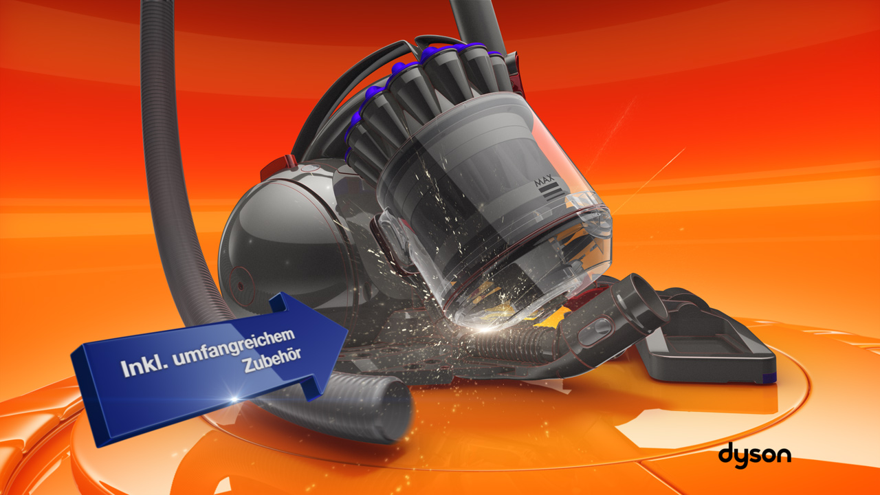 melectronics redesign 3D product animation – Dyson vacuum cleaner with feature arrow 2