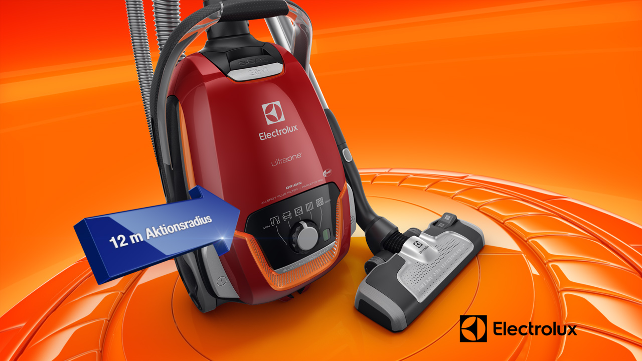 melectronics redesign 3D product animation – Electrolux vacuum cleaner with feature arrow 2