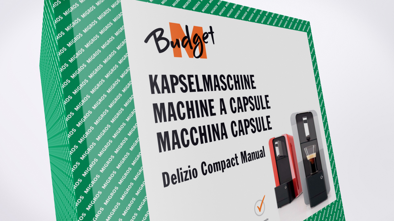 Mirgros M-budget 3D product animation, delizio espresso machine packaging