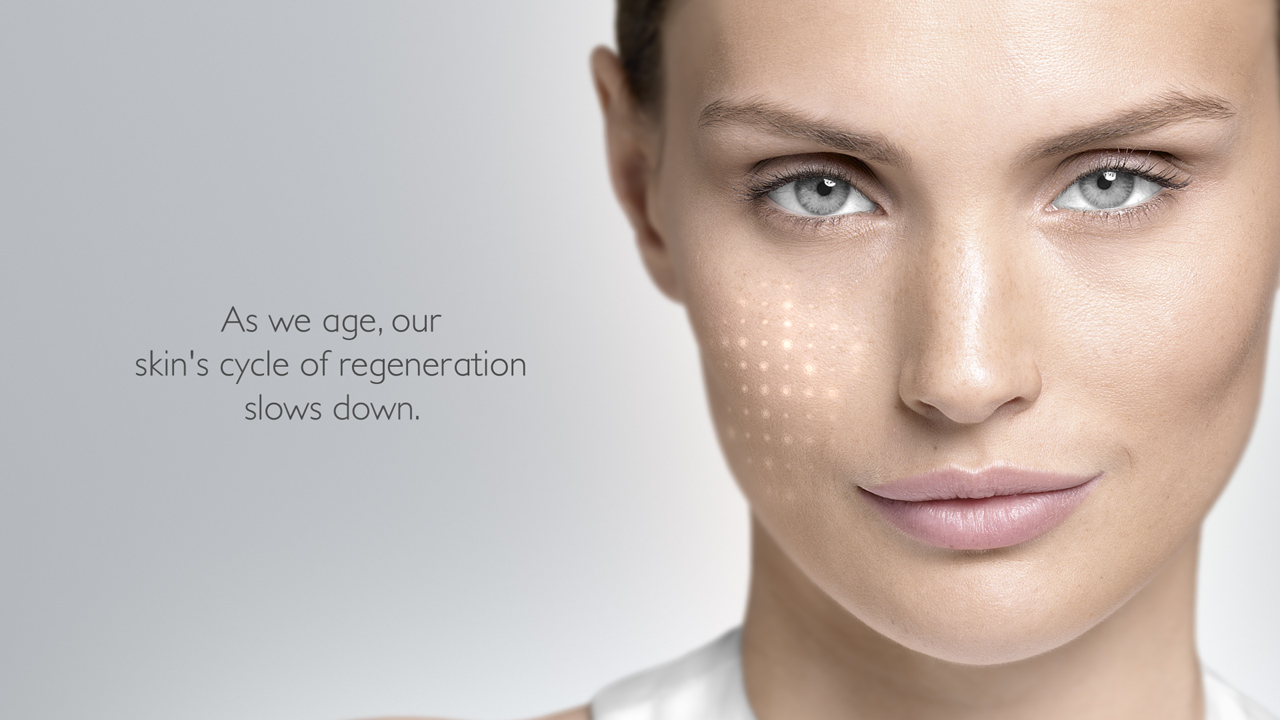 Reviderm skin needler, femal brand model, close up face with typography