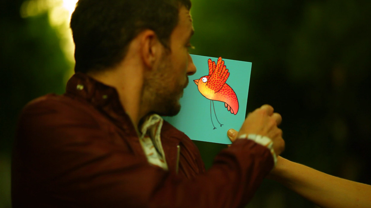 Mega Mou on air design, 2D animation and compositing, young man taking a mega mou board with an animated bird on it