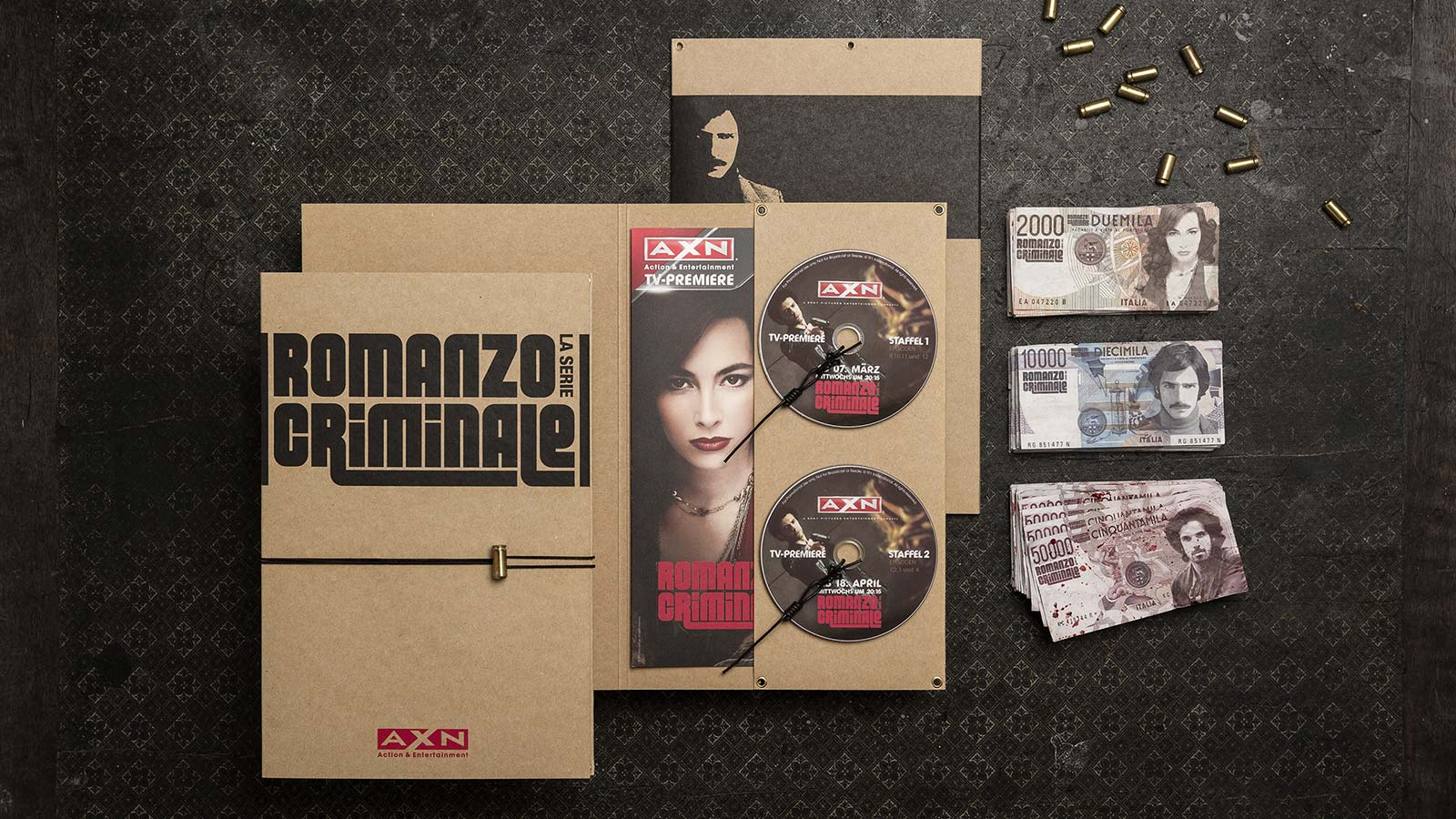 A X N, Romanzo Criminale press kits and counterfeit money