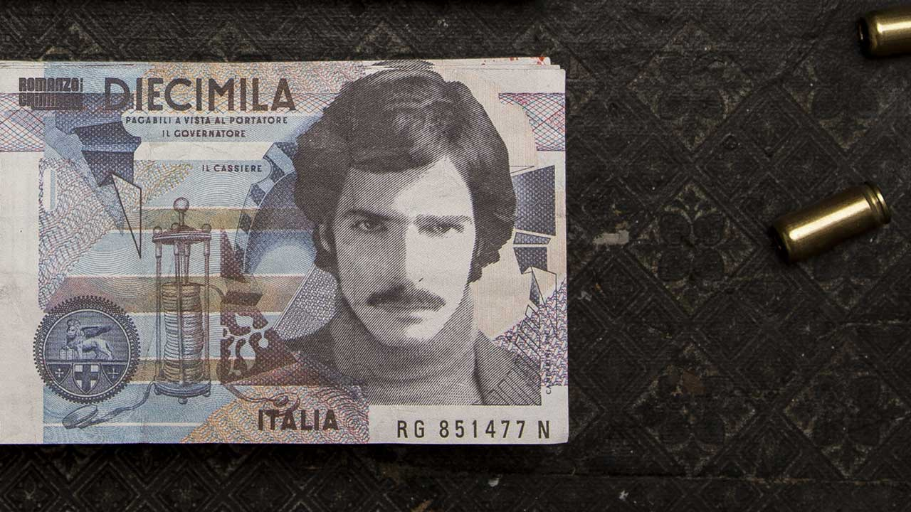A X N, Romanzo Criminale promotion, portrait of an actor on the counterfeit money