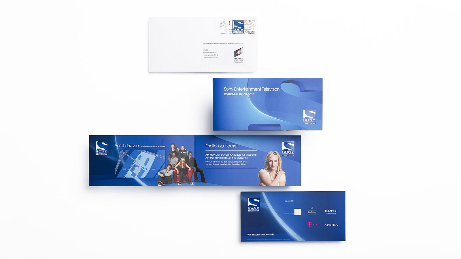 SONY Entertainment Television, launch event invitation with envelope and custom postage stamp