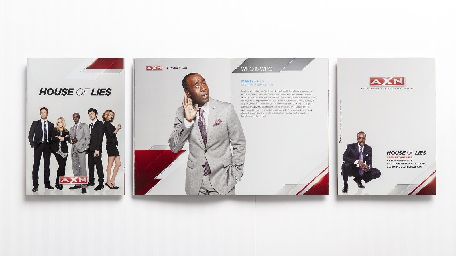 A X N, House of Lies press kit brochure, opened and closed