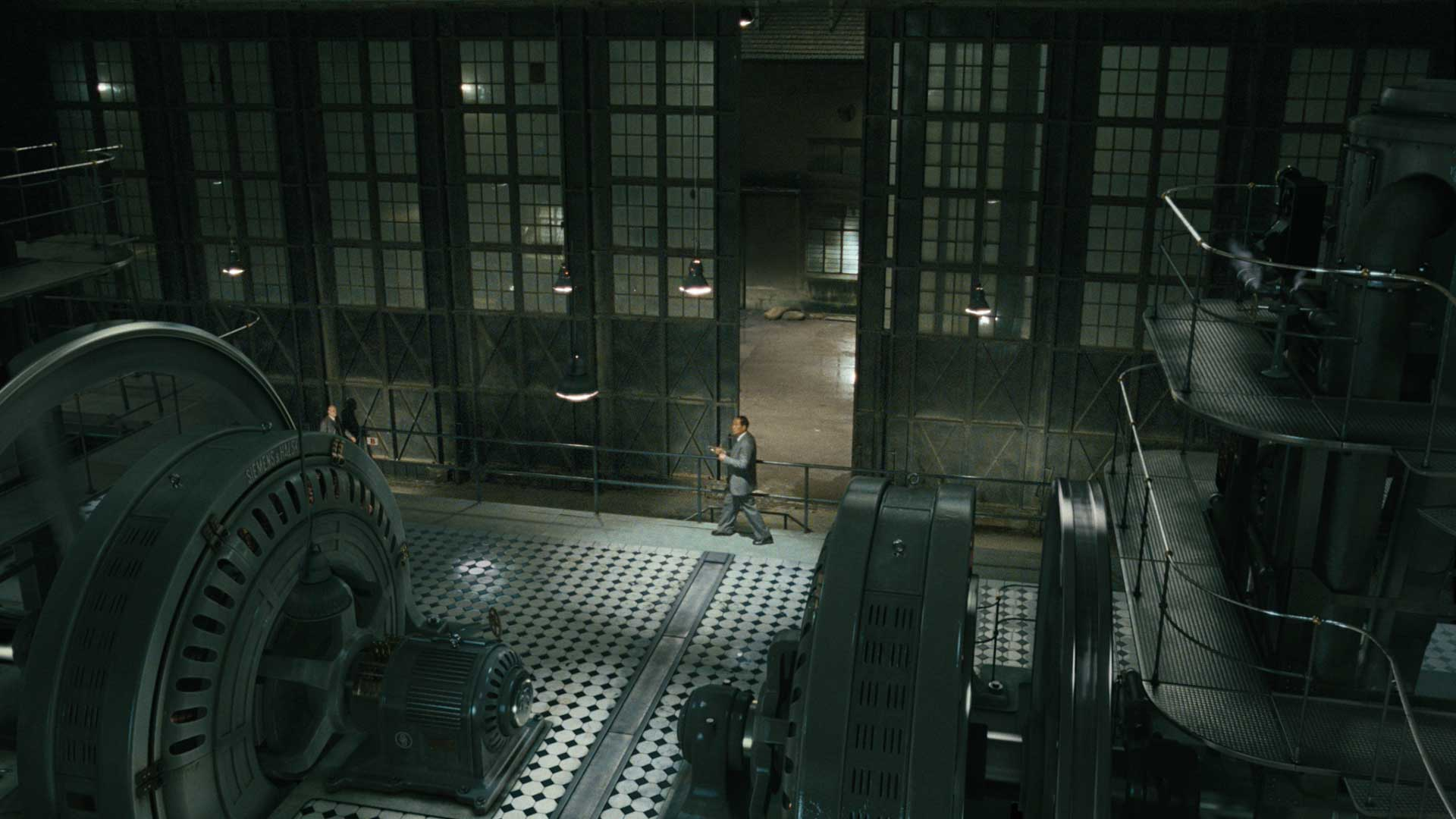 3D extended night scene inside the generator hall from the motion picture John Rabe